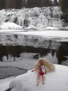 "Barbie ""travel bug"" at Bond Falls"